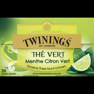 Thé vert menthe citron vert TWININGS, boîte 20 sachets 30g
