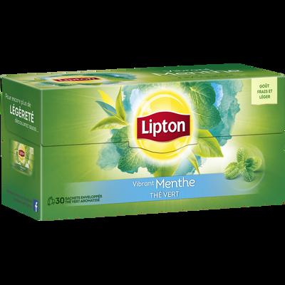Thé vert parfum menthe LIPTON, boite de 30 sachets, 48g