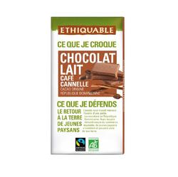 CHOCOLAT LAIT CAFE CANNELLE TABLETTE BIO 100G