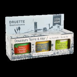 Coffret Terre et Mer tapenade d'olives vertes chèvre frais, merlu et tartare de tomates au basilic et au pastis d'Ile de Ré DRUETTE GASTRONO MIE , 3x90g