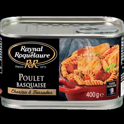 Poulet Basquaise chorizo et torsades RAYNAL ET ROQUELAURE, boîte de 400g