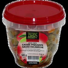 Olive verte cassée piquante, 500g