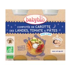 Pot Bonne nuit Carotte Tomate et pâtes BABYBIO dès 8 mois 2x200g
