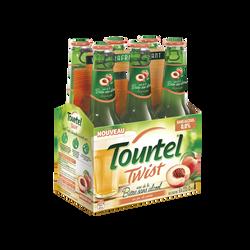 Bière sans alcool twist pêche TOURTEL, 0°, 6x27,5cl