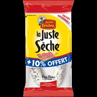 """Saucisse sèche pur porc """"La Juste Sèche"""" JUSTIN BRIDOU, 275g + 10%offert"""