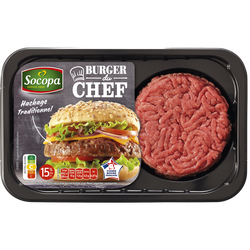 Burger au boeuf, 15% MAT.GR., SOCOPA, France, 2 pièces, barquette, 250g
