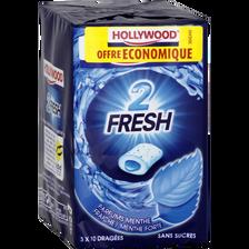 Hollywood Chewing-gum Dragées Sans Sucre Menthe Fraîche Forte 2 Fresh ,x3 Soit 66g