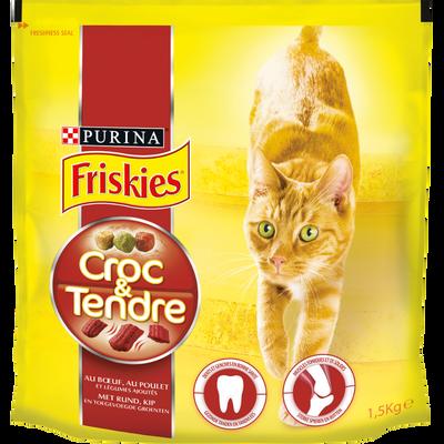 Croquettes pour chat tendre au boeuf, poulet et légumes FRISKIES, boîte de 1,5kg