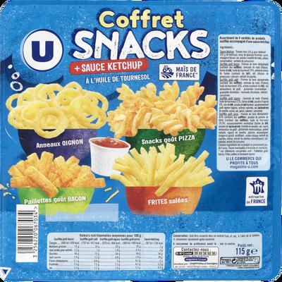 Coffret snacks et sauce ketchup U, sachet de 115g