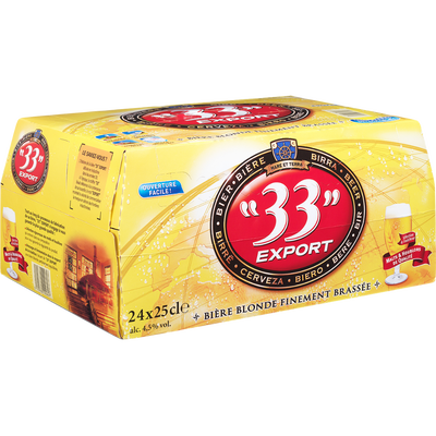 Bière blonde 33 EXPORT, 4,5°, pack de 24x25cl