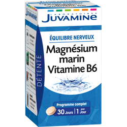 Détente équilibre nerveux Magnésium marin Vitamine B6 JUVAMMINE, 30 gélules