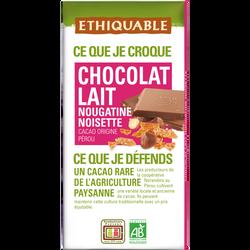 CHOCOLAT LAIT NOUGATINE NOISETTE PÉROU BIO  100G