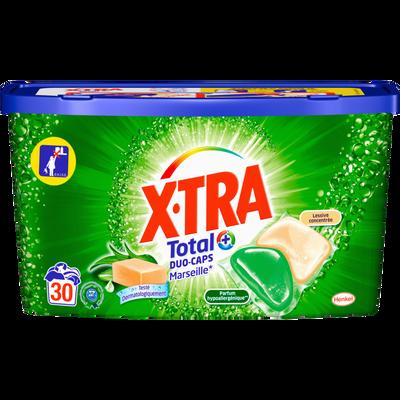 Lessive en doses liquide duo caps Marseille X-TRA, boite de 30 capsules de 20g