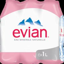 Evian Eau Minérale Naturelle , 6 Bouteilles De 1l