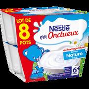 Nestlé P'tit Onctueux Au Fromage Blanc Nature Nestlé, Dès 8 Mois, 8x100g
