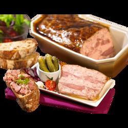 Terr.de joues de porc conf.pepit.fg cnrd 13%/girol.1,4% 1,8k