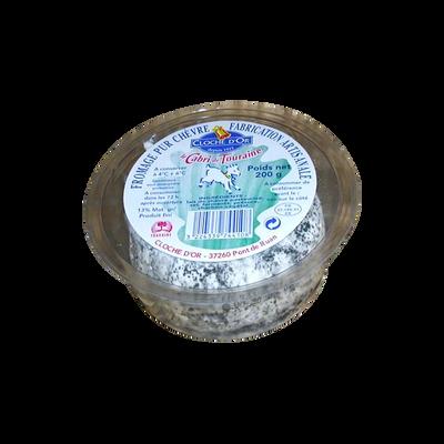Cabri de Touraine cendre au lait de chèvre pasteurisé, CLOCHE D'OR, sous coque 200g