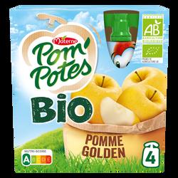 Pom'potes bio pomme nature 30% de sucre en moins MATERNE, 4x90g