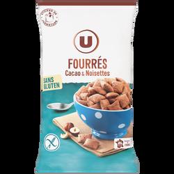 Céréales fourrées chocolat noisettes sans gluten U, sachet de 375g