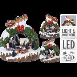 Village de Noël 13 led avec mouvement en résine 24x24x24,5cm -fonctionne avec piles 3x aa non incluses ou adaptateur-2ass modèles
