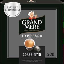 Café expresso corsé n°10 GRAND MERE, 20 capsules, soit 104g