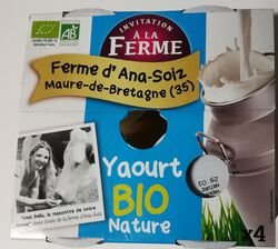 Yaourt Bio Nature 4x125g La Ferme d'Ana-Soiz