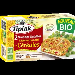 Grandes galettes aux légumes du soleil & céréales bio TIPIAK, 2x100g