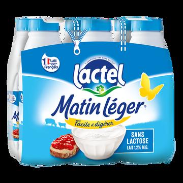 Lactel Lait Uht À Teneur Réduite En Lactose 1,2%mg,matin Leger, Bouteille 6x1litre