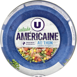 Salade Américaine au thon pêché à la ligne U, bol de 1/3, 250g