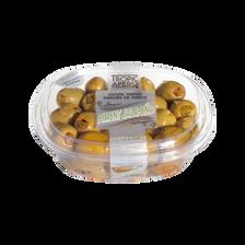 Olive verte farcie au piment jalapeno à la diable, barquette 250g