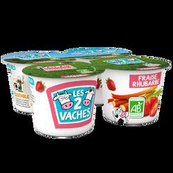 Yaourt brassé sucré fraise et rhubarbe BIO LES 2 VACHES, pack de 115g