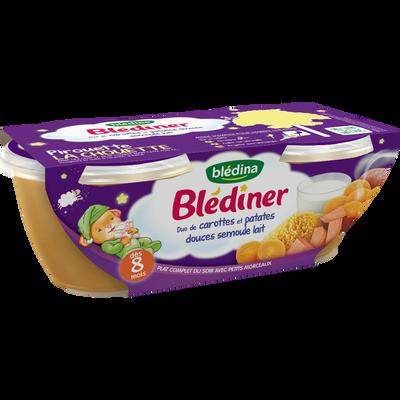 Bols pour bébé duo de carottes, patates douces et semoule BLEDINER, dès 8 mois, 2x200g
