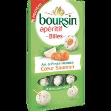Fromage au lait pasteurisé billes ail & fines herbes coeur de saumon BOURSIN, 34 % de MG, 75g