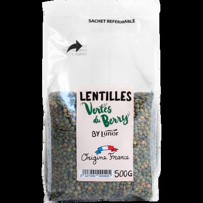 Lentille verte sèche du Berry, LABEL ROUGE, LUNOR, sachet 500g