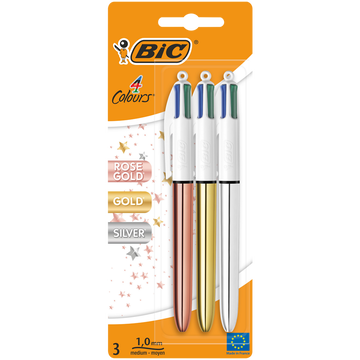 Gold Stylo Bille Bic 4 Couleurs X3-coloris Assortis Gold,shine,rosegold