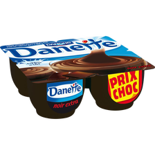 Danone Danette Crème Dessert Chocolat Noir Extra Danone, 4 Untiés, 125g