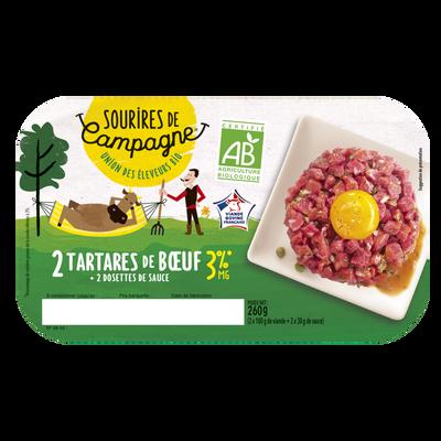 Tartare 3%mg, BIO, Sourires de Campagne, France, 2 pièces, barquette,260g