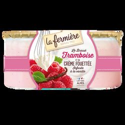 Spécialité laitière à base de yaourt brassé sucré à la framboise et decrème fouetté infusée à la vanille de Madagascar 2x120g