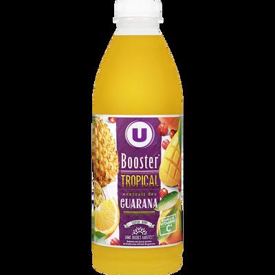 Jus de fruits booster tropical et extrait de guarana U, bouteille de 1l