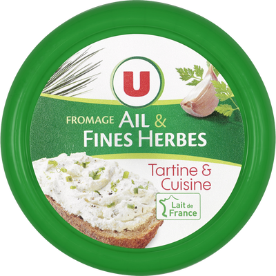 Fromage pasteurisé à tartiner ail et fines herbes U, 24% de MG, 150g