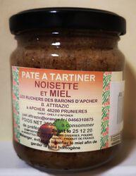 Pâte à tartiner noisette et miel, Les Ruchers des barons d'Apcher, 250g