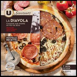 Pizza diavola à base de fromages Provolone et de salami piquant, U SAVEURS, 400g