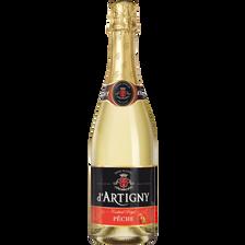 Cocktail sans alcool pétillant pêche D'ARTIGNY, bouteille de 75cl