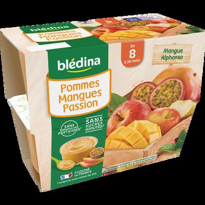 Coupelles fruits pomme mangue passion BLEDINA, de 8 à 36 mois, 4x100g