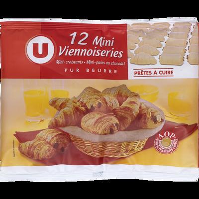 Mini viennoiseries pur beurre prêt a cuire U, 12 unités soit 288g