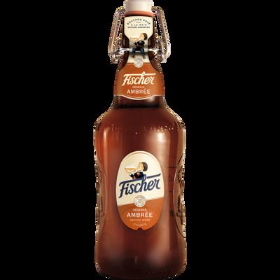 Bière ambrée FISCHER, 6,3°, bouteille en verre consigné bouchon mécanique de 65cl