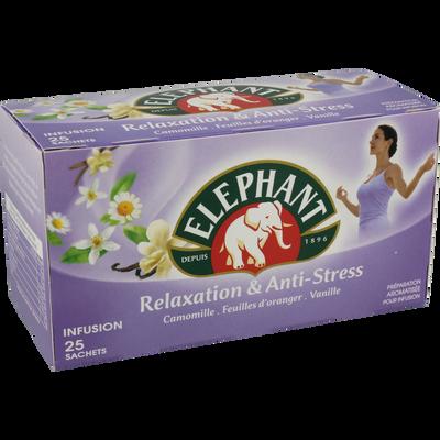 Infusion bien être relaxation anti-stress ELEPHANT, 25 sachets, boîtede 39g