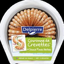Couronne de queues de crevettes cuites décortiquées et sauce fines herbes, transformé France, barquette 130g