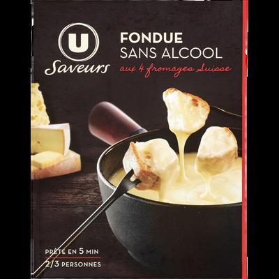 Préparation pour fondue 4 fromages Suisse sans alcool U SAVEURS, 16% de MG, 400g