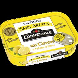 Sardine sans arêtes à l'huile d'olive citron, CONNETABLE, boîte de 1/5, 140g